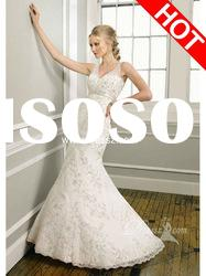 New Glamorous Lace Sleeveless Wholesale Bridal Wedding Gowns With Zipper Up Back