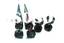 New arrival leopard printed faux tapers and plugs in set body jewelry
