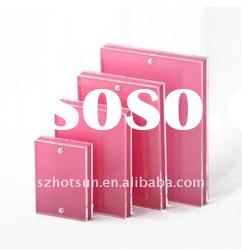 Pink acrylic photo frame stand with magnet