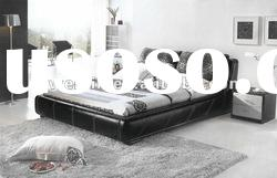 rococo style comfy Chinese black leather bedroom set furniture F078