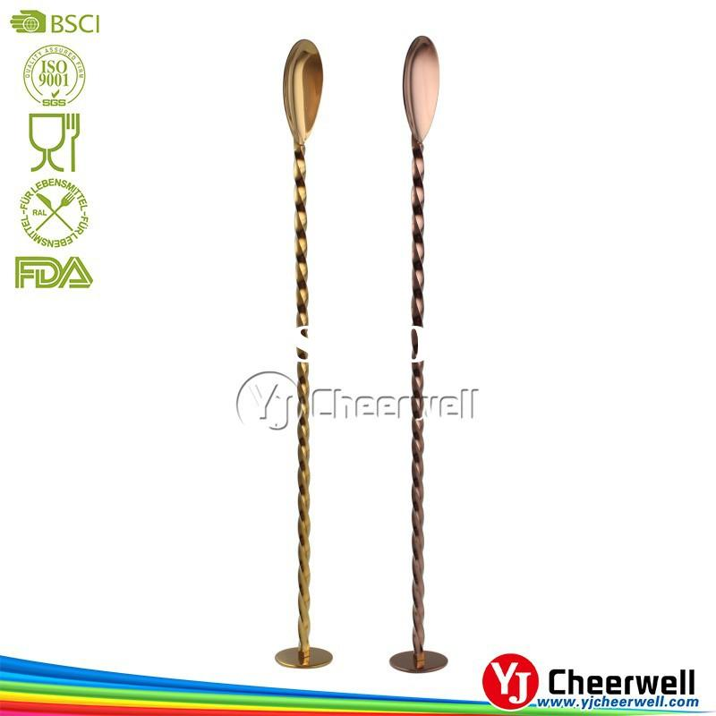 Bar tools drink stirrer stainless steel bar spoon with muddler