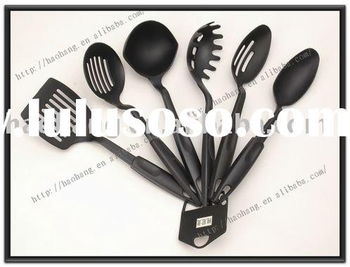 Hot sale 6pcs black nylon cooking utensils, kitchen utensils and their uses