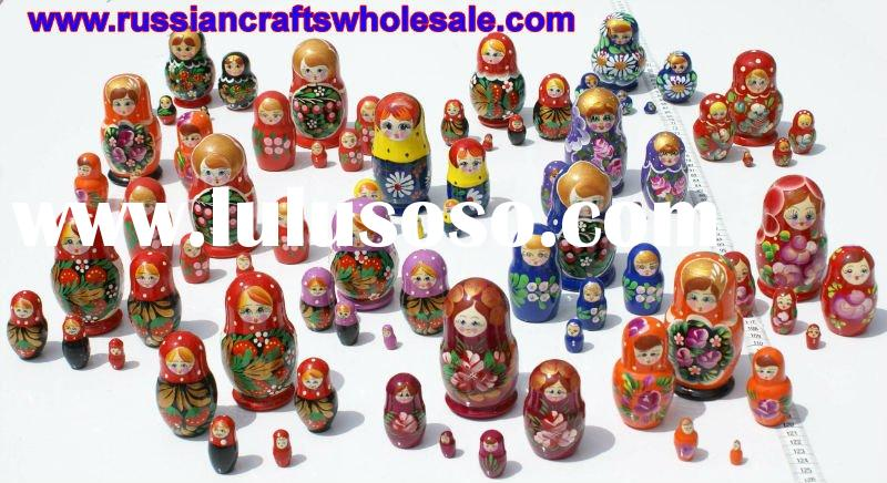Matrioshka Wooden Russian Dolls with Ethnic Ornament, Hand Painted Wood Souvenir, Folk Art and Craft