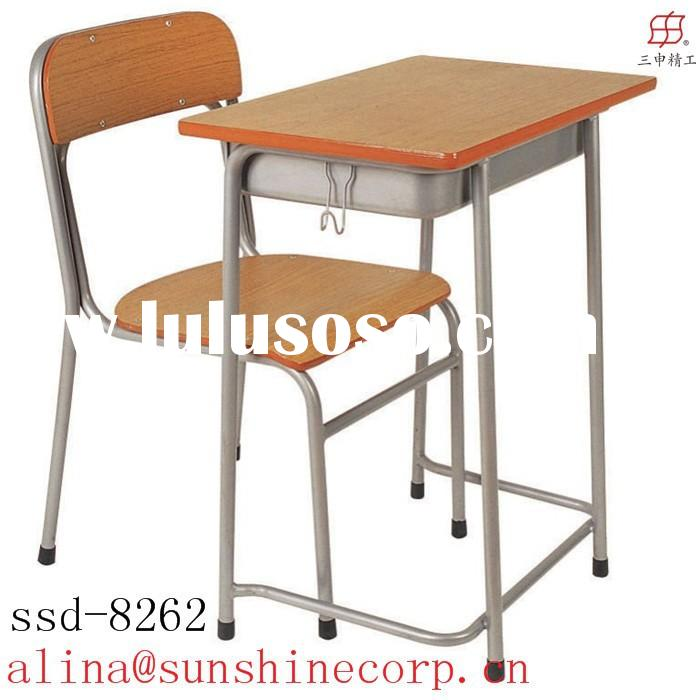 elementary/middle school/college school furnitur modern wooden study table cheap school chair and sc