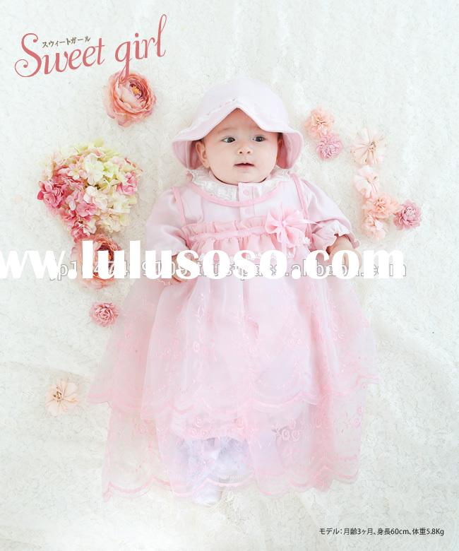 Japan wholesale high quality cute frill and lace fancy birthday baby dress designs frock for girl