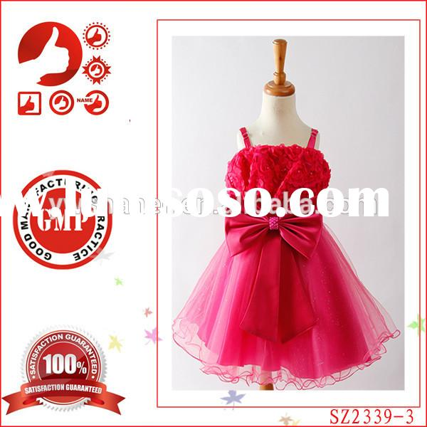Latest Hot designer one piece party dress children little girls popular kids party wear baby childre