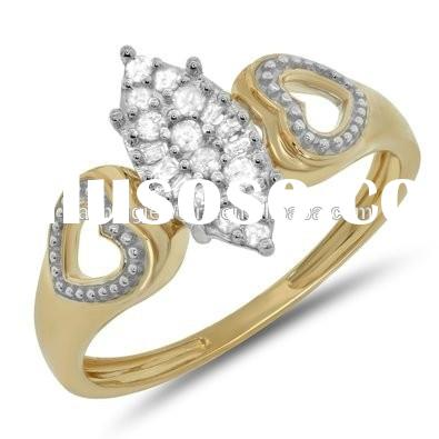 Round Diamond Ladies Marquise gold ring Double Heart Shape Cluster Engagement Promise Ring
