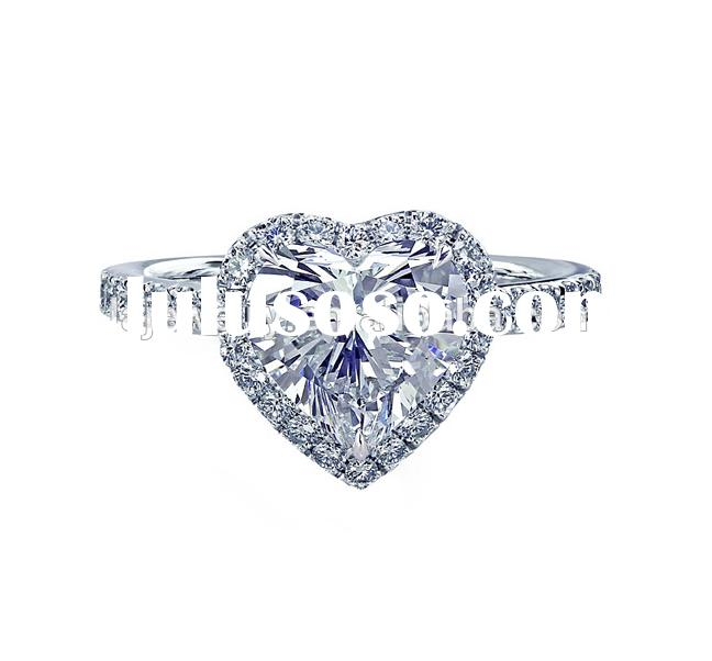 Wedding jewelry Full stones pave set heart shape cut white gold engagement rings for sale