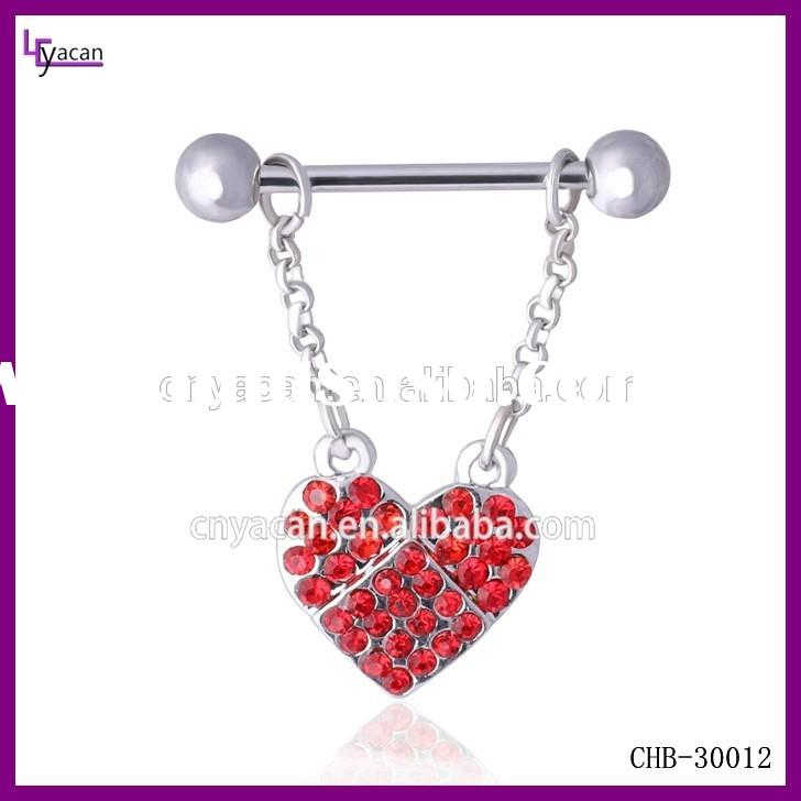 Wholesale Body Piercing Jewelry Surgical Steel Love Heart Dangle Nipple Ring