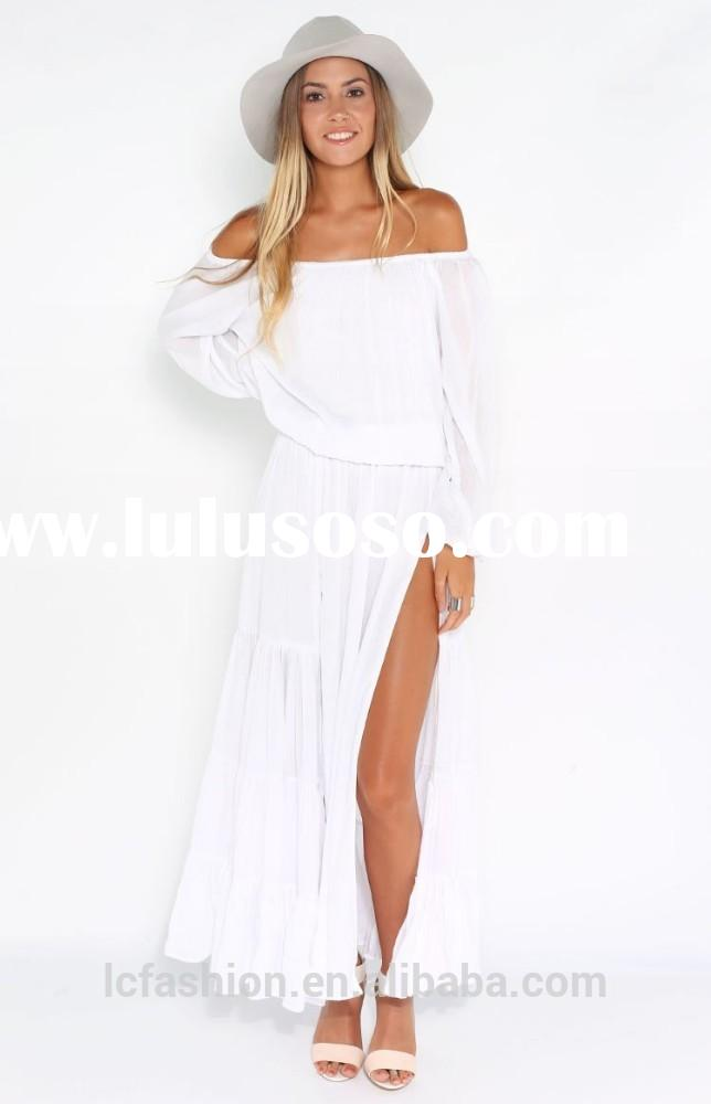 2014 Winter Strapless White Slit Long Sleeve Cotton Maxi Dress for Women
