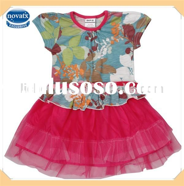 2014 baby frock designs children party cotton frocks for girls (H4841)
