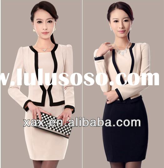 2014 latest style lady elegant uniform design for office staff