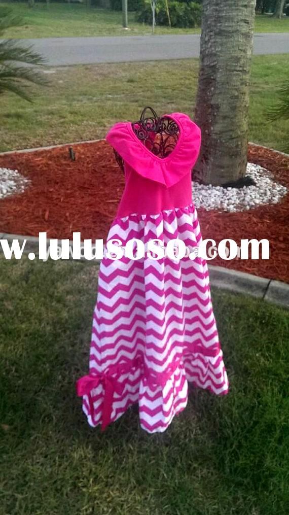 2014hot sale fashion baby girls long maxi dress chevron summer baby dress for kids party wear ruffle