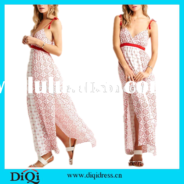 2015 Ladies summer spaghetti strap low back print casual maxi dress long frock for women
