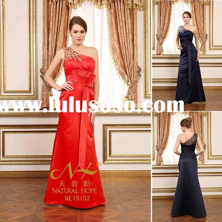 2015 Latest dress designs for ladies one shoulder appliques empire couture satin fabric evening dres
