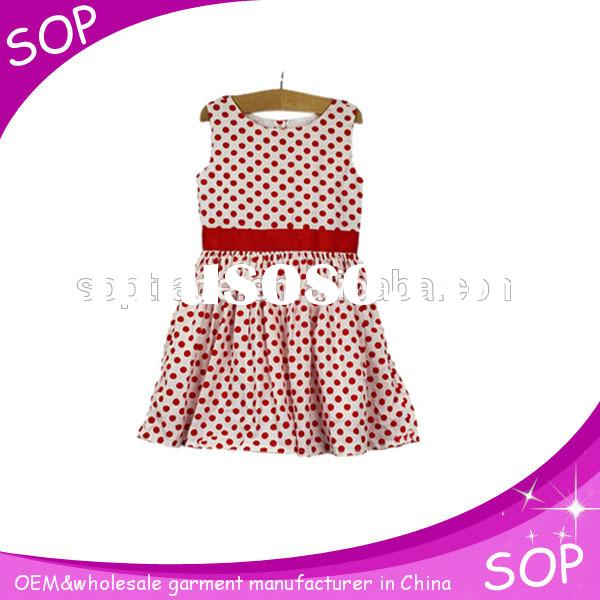 2015 hot sale summer round neck fashion print kids frocks design for girls dress