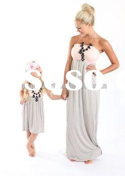 2015 new coming mom and me dresses beach wear cutting and sewing dress summer frock design for baby