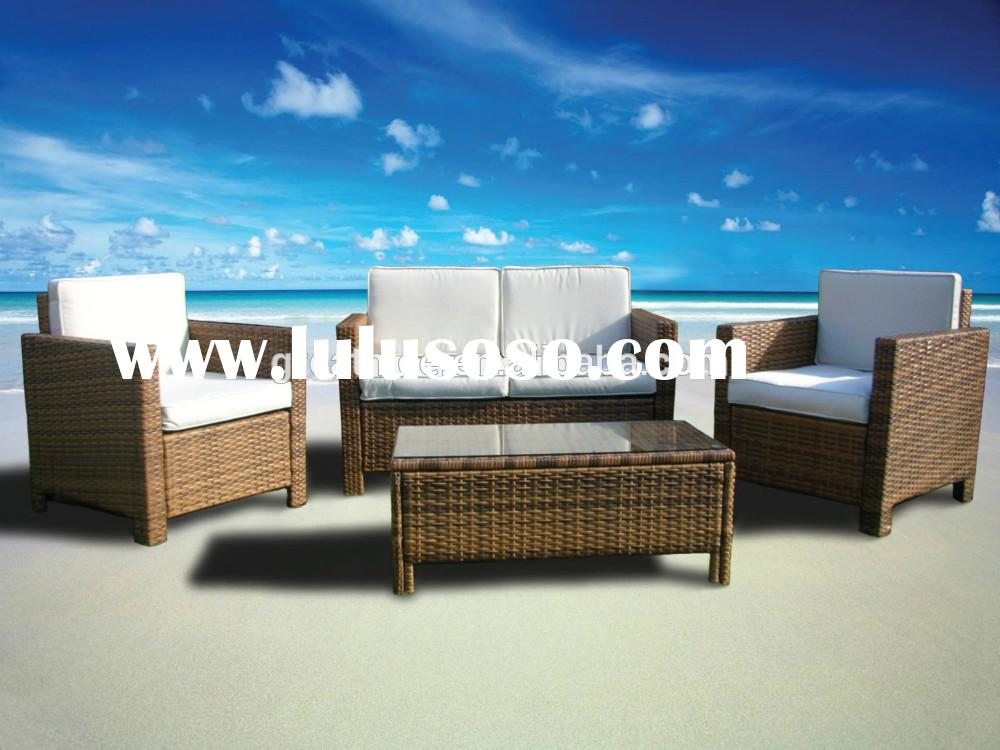 4 Pc Outdoor Rattan Wicker Sofa Sectional Patio Furniture Set (Light Brown)