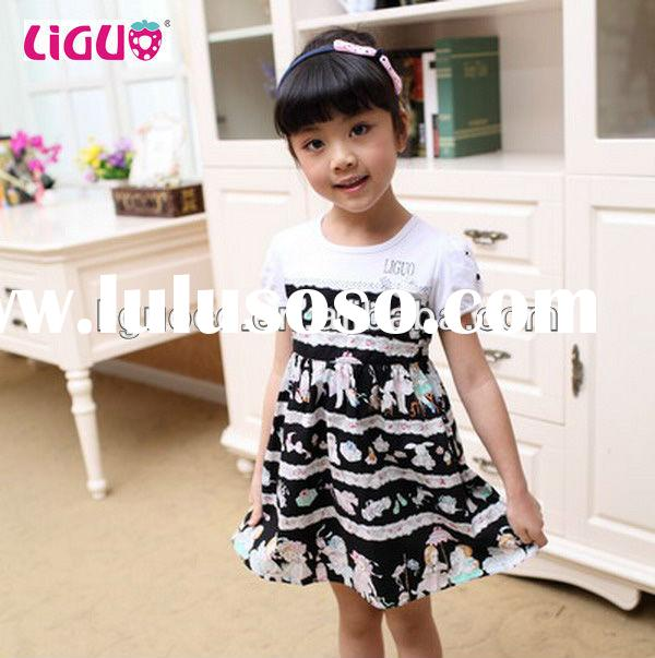 Beautiful printed kids fashion dresses pictures frock design for baby girl kids wear