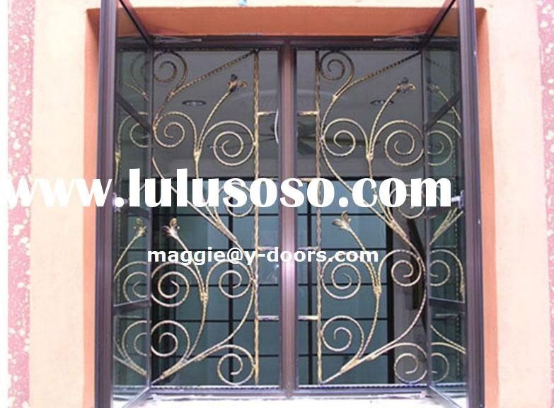 Decorative Wrought Iron modern Security Window Grill Design