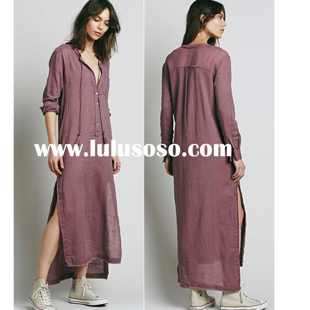 Fashion high low cotton maxi dress design for Muslim, woman frock dress