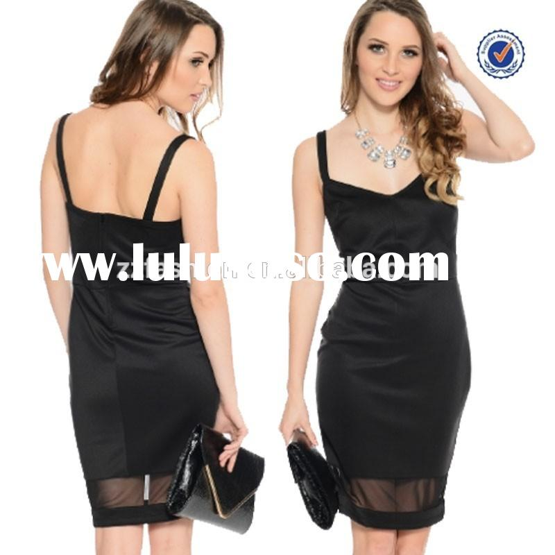 Latest sleeveless pure black party dress designs for ladies short party dress patterns