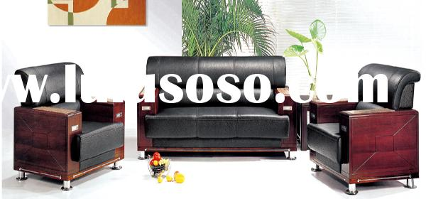 Luxury leather office sofa set office furniture couch with wood frame(FOH-6662)