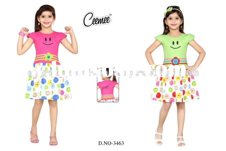 New Style Smily Printed Designer Cute Frock for Baby Girl Frock Design