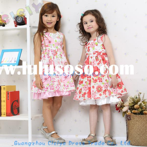 Summer new styled frock sleeveless design cotton dress for baby girl