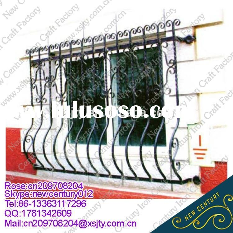 decorative wrought iron window grill/beautiful wrought iron windows for sale/simple man-made wrought