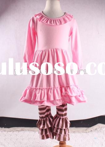 wholesale girls clothing blank tunic tops with leggings long sleeve christmas ruffle pants outfits c