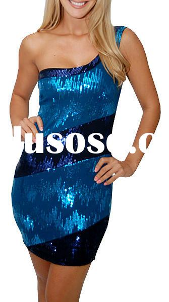 wholesale one shoulder color combined bodycon sequin formal dress patterns beautiful dress latest dr