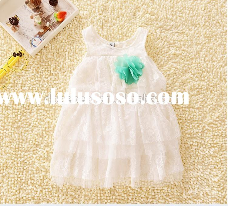 2014 fashion dress white lace baby girl summer dress
