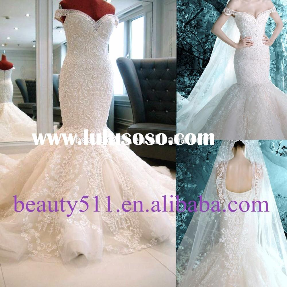 2015 New Style Luxury Beaded Sweetheart Nackline Off-shoulder Mermaid Lace wedding dress bridal dres
