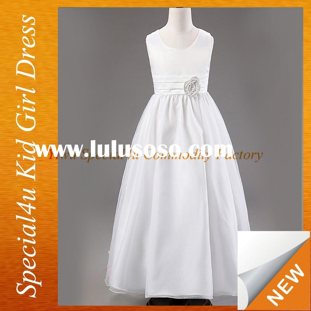 2015 Wholesale New Style Good Quality Pure White Baby Girl Summer Party Dress Flower Girl Dress SPSY