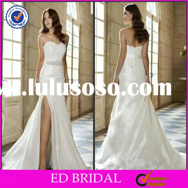2015 New Fashion Style Mermaid Strapless Sweetheart Lace Front Slit Wedding Dress