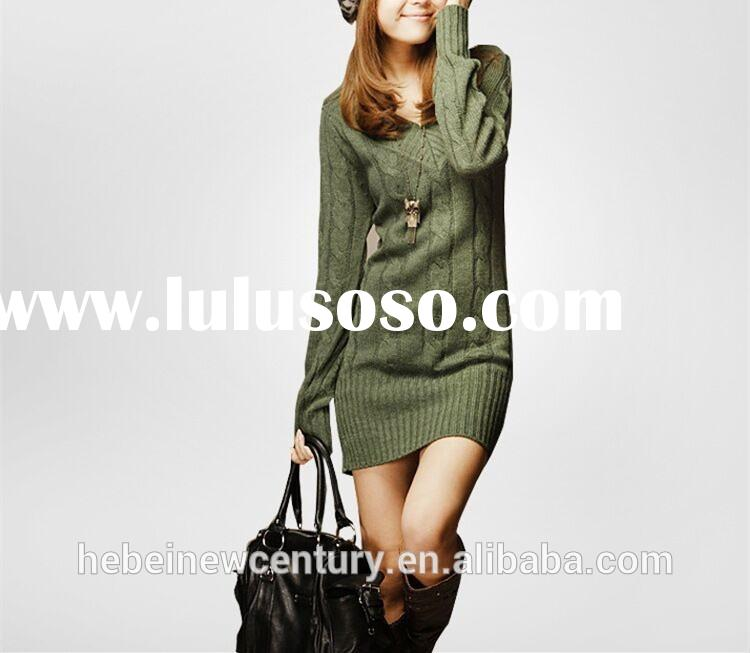 Autumn the new women's restoring ancient clothing show slim v-neck twist long knitting sweat