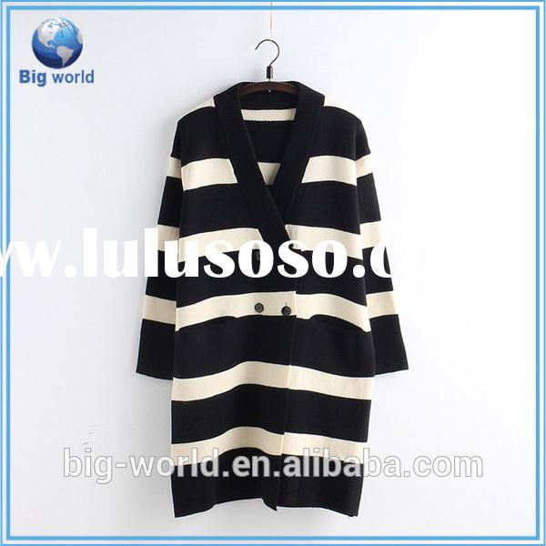 BIGWORLD New design stripe women knit cardigan woolen sweater for autumn fall V-neck knitted cardiga
