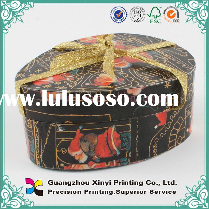 Black decorative small round cardboard gift box with lid