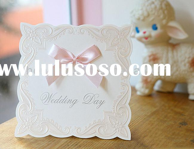 Europea style high end with ribbon wedding Elegent invitation card