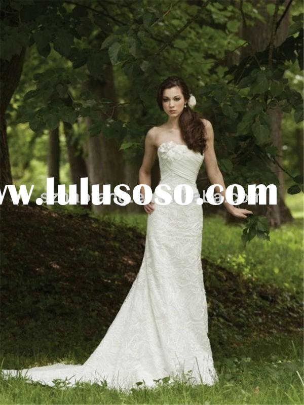 HT1290 Elegant lace crochet strapless mermaid bohemian style wedding dresses