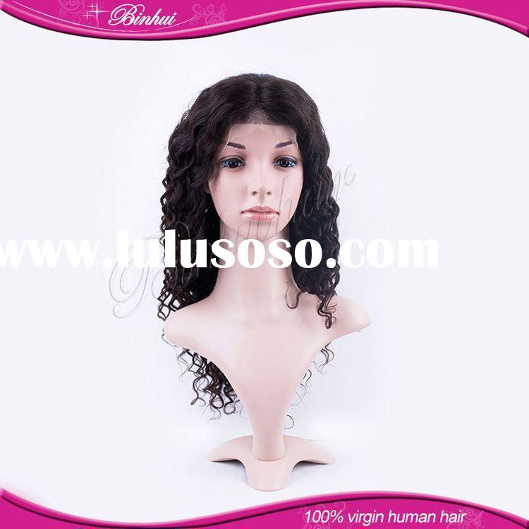 High Quality cheap front lace curly human hair wigs for white women