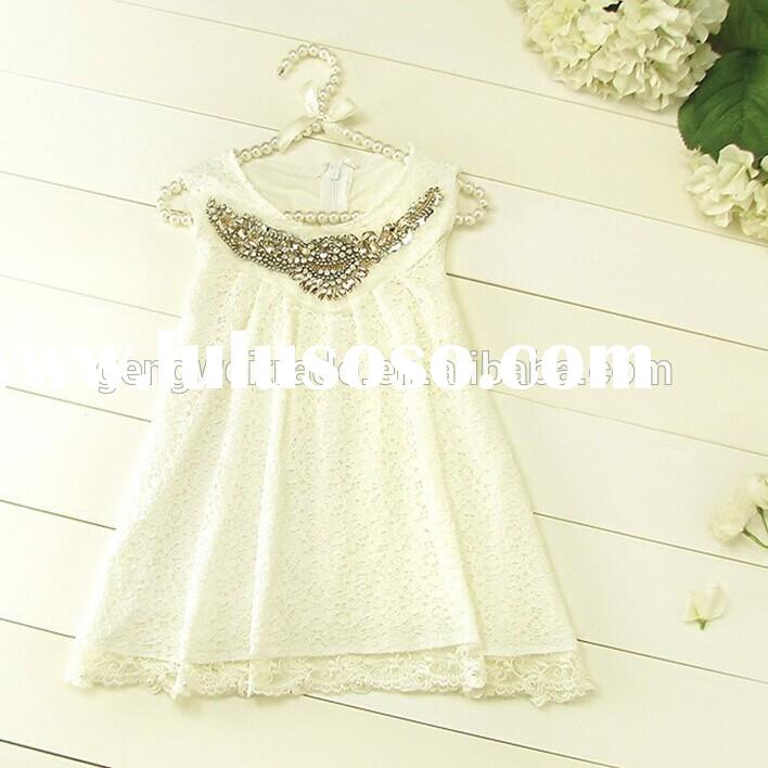 High Fashion Summer White Baby Girls Dress 2015 Casual Lace Dresses For Kids