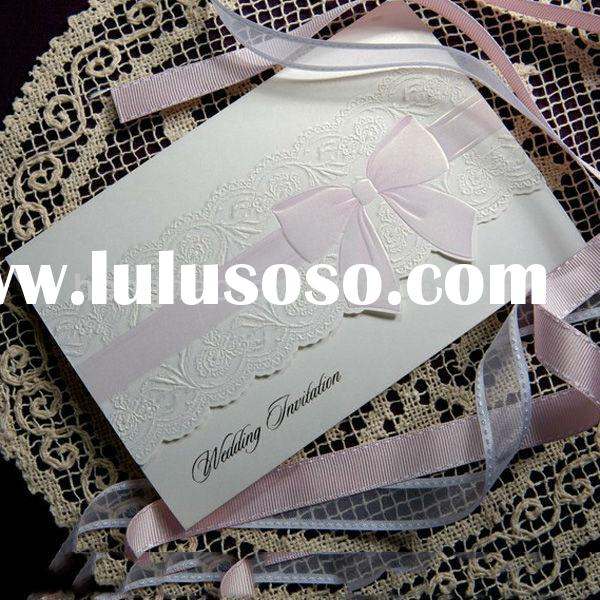 High end fashionable delicate emboss elegant wedding invitation card
