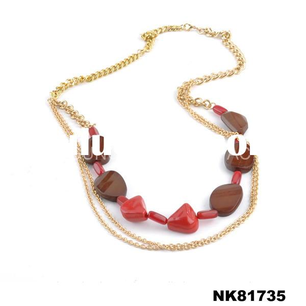 Promotional 14k gold plated chain with acrylic stone for women