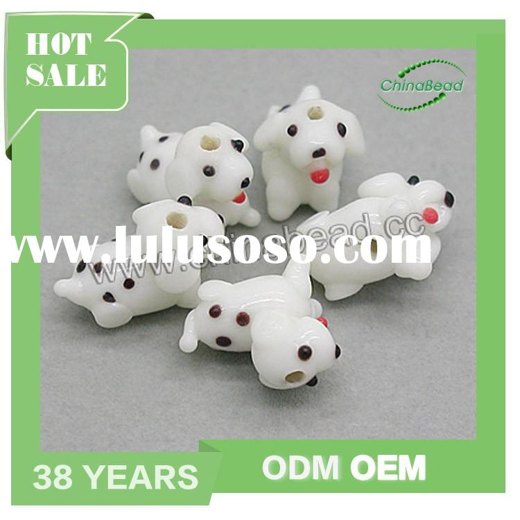 Top grade handmade lampwork glass dog beads, glass animal beads dog shape beads for jewelry making