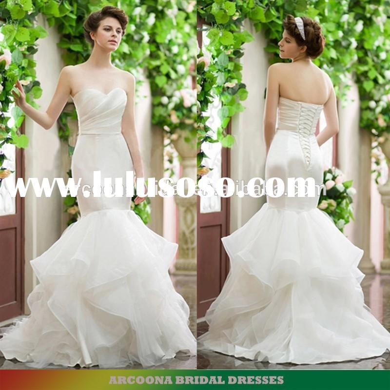 Western style strapless sheath mermaid wedding dresses with frill fish tail