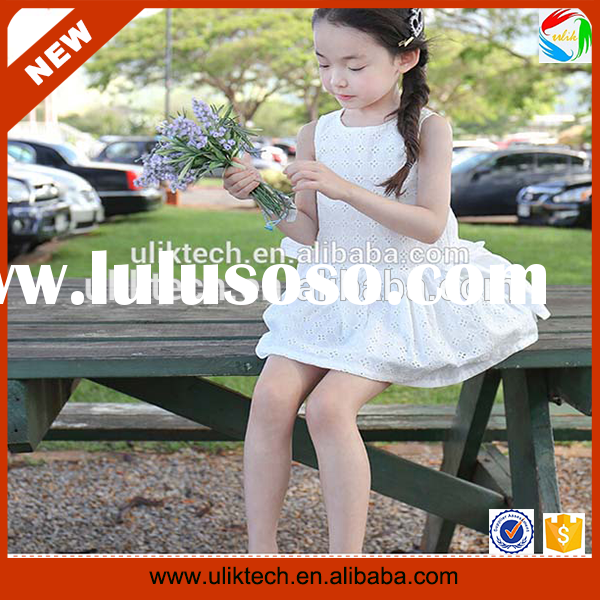 Wholesale high quality baby dress cutting white girls casual summer dress (Ulik-A0315)