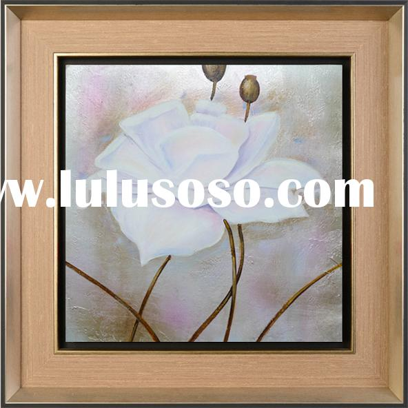 famous modern acrylic painting flowers,white flower oil painting