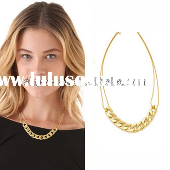 fashion new jewelry type, women chain 14k gold plated necklace